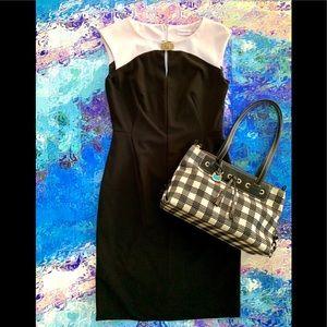 CALVIN KLEIN Graphic B & W Pencil Dress